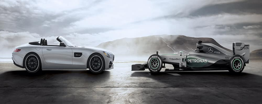 AMG GT Roadster facing Race Car on Track