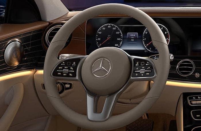 Closeup of Mercedes-Benz E-Class steering wheel