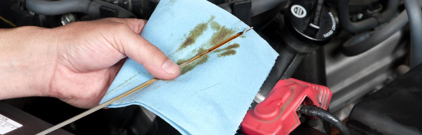 Closeup of hands checking oil level in car