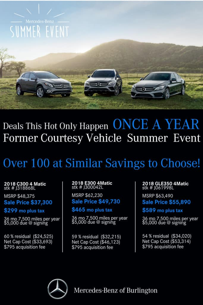 summer sizzler former courtesy vehicle sales event mercedes benz