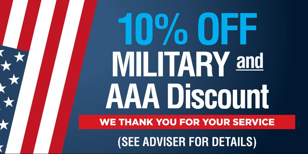 10% off - military and triple a discount. We thank you for your service.