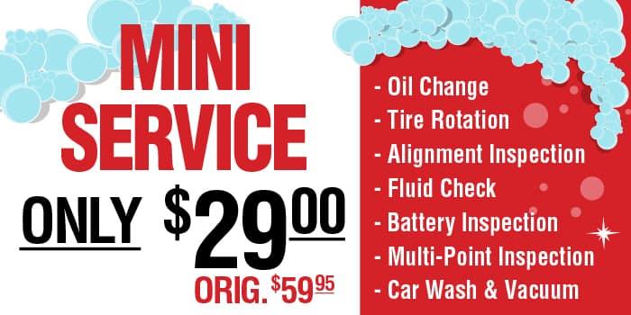 Mini Service only $29.00, originally $59.95
