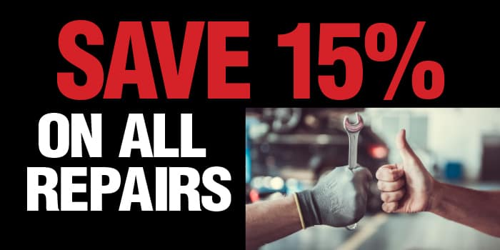 Save 15% on all repairs