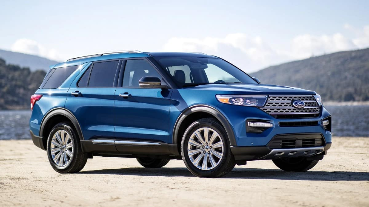picture of ford explorer 2021 hybrid blue exterior for sale in Hooksett New Hampshire