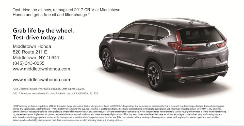direct mail offer: test drive 2017 cr-v to get free oil change