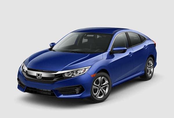 Blue 2018 Honda Civic Sedan at an angle