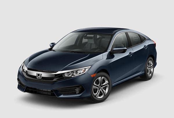 Bright Blue 2018 Honda Civic Sedan at an angle