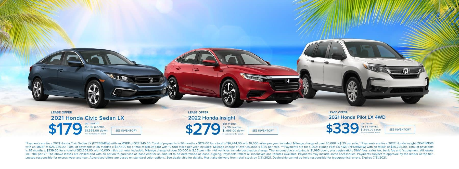 Lease Offers for Honda Civic, Honda Insight and Honda Pilot LX