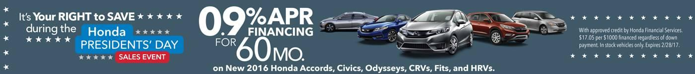 0% APR on 2016 Models for 60 mos.
