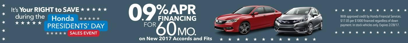 0% APR on 2017 Accord and Fit Models for 60 mos.