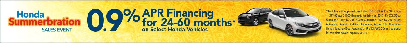 0.9% APR Financing on select Honda