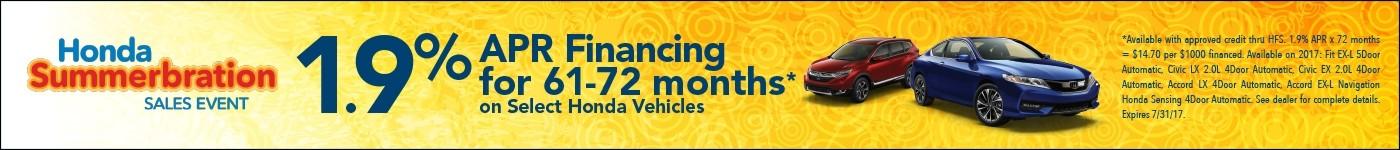 1.9% APR Financing on select Honda