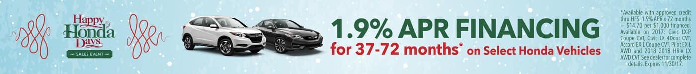 1.9% APR on Select Honda Vehicles