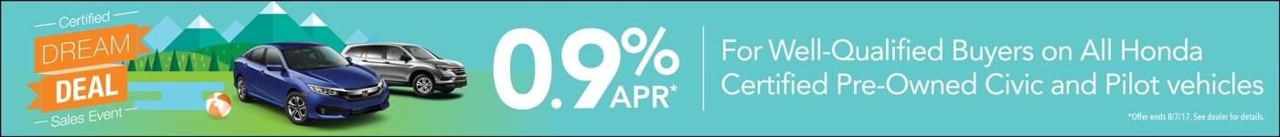 0.9% APR on Certified Honda Vehicles