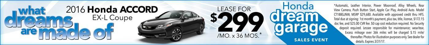 2016 Honda Accord Lease $299