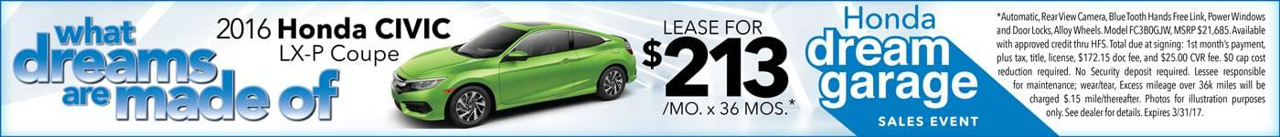 2016 Honda Civic Coupe Lease $213