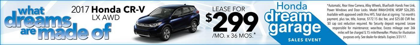 2017 Honda CR-V Lease $299