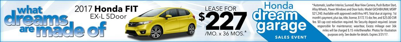 2017 Honda Fit Lease $227