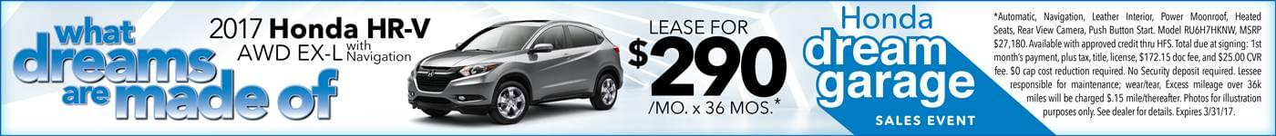 2017 Honda HR-V Lease $290