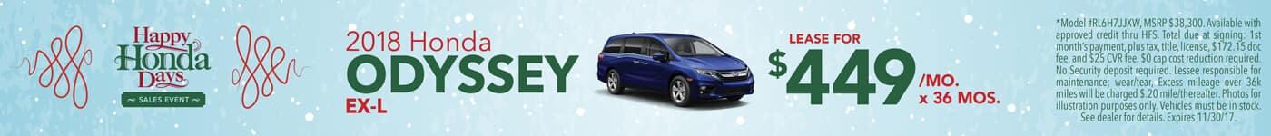 Lease 2018 Honda Odyssey EX-L $449