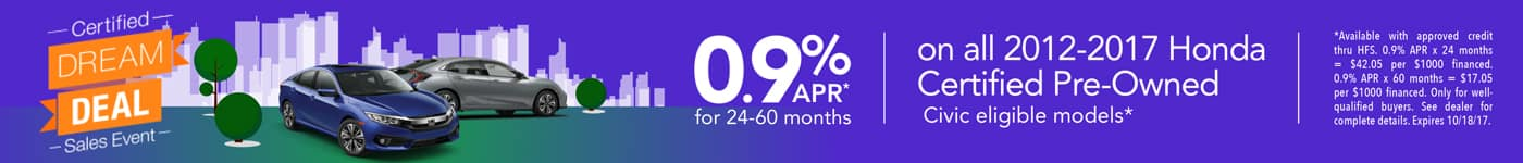 Dream Deal Sales Event 0.9% APR on Certified Civics
