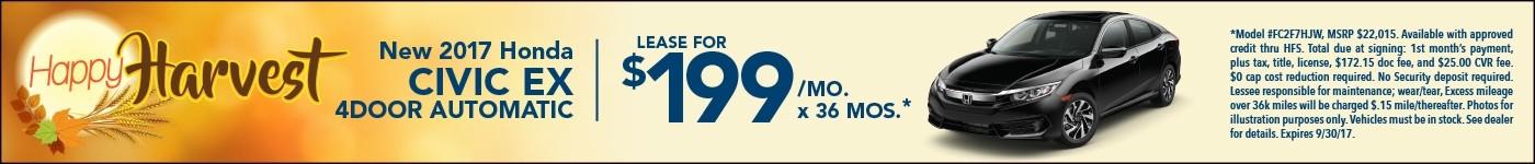 Lease 2017 Civic EX $199