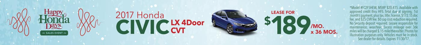 Lease 2017 Honda Civic LX 4Door$189