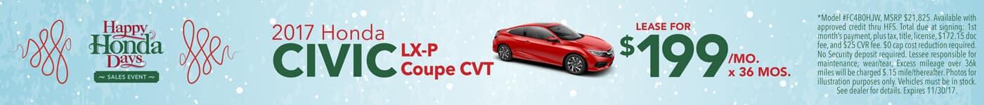 Lease 2017 Honda Civic LX-P Coupe $199