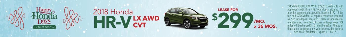 Lease 2018 Honda HR-V LX  $299