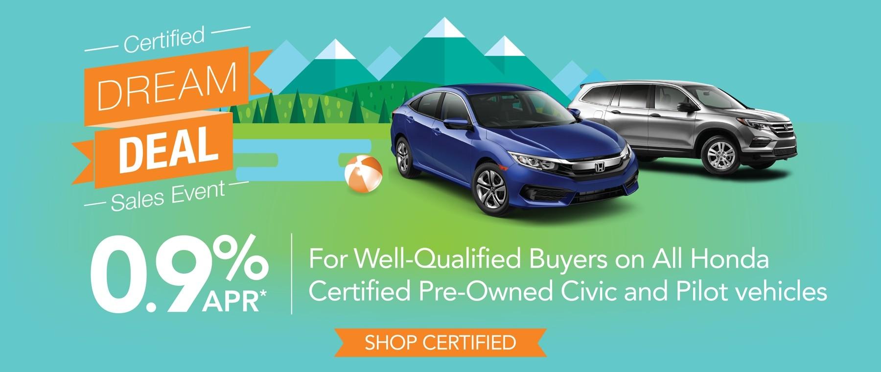 0.9% APR on Certified Honda