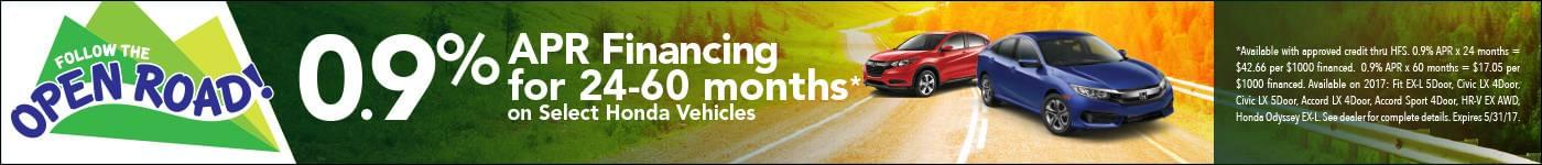 0.9% APR Financing for 24-60 months on select vehicles