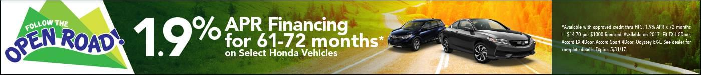 1.9% APR Financing for 61-72 months on select vehicles