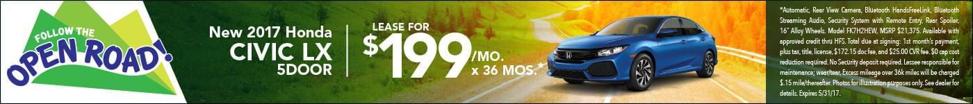 Lease 2017 Civic Hatch $199/mo