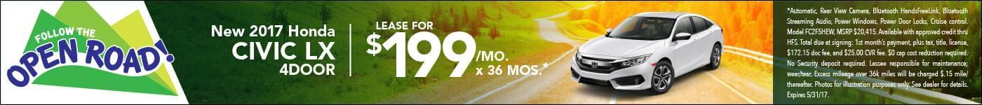 Lease 2017 Civic Sedan $199/mo