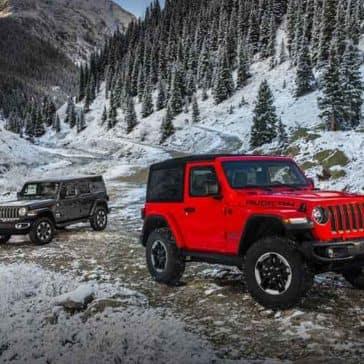2018 Jeep Wrangler 2 Door and 4 Door Models in the mountains