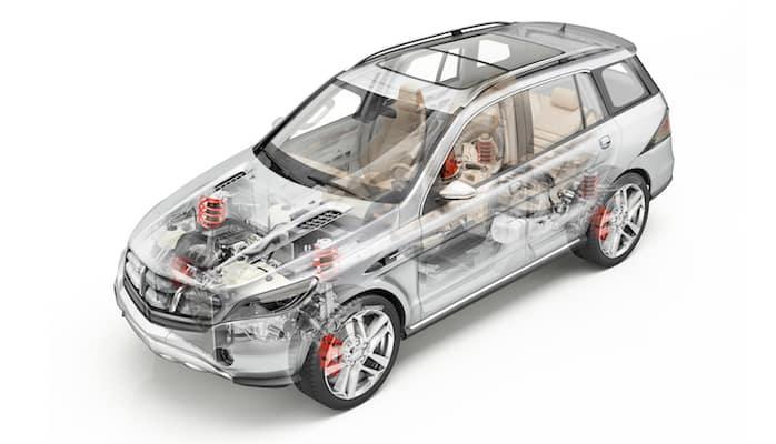 Digital rendering of car frame and parts inside