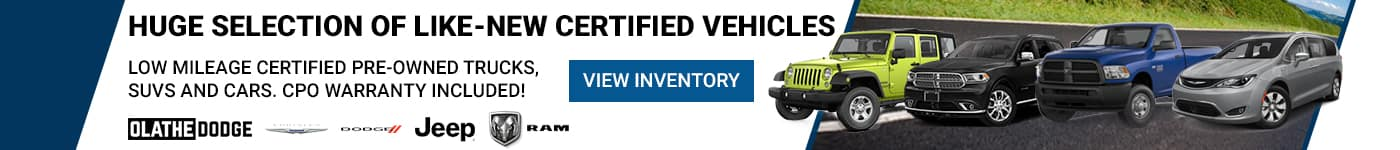 Huge Selection of Like-New Certified Vehicles. Low Mileage Certified Pre-Owned Trucks, SUVs and Cars. CPO Warranty Included!
