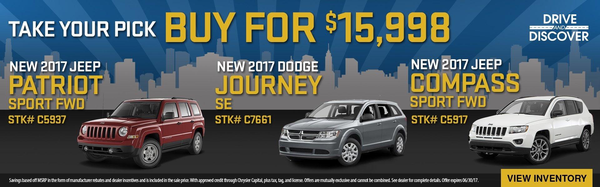 2017 Patriot, Journey or Compass, buy for $15,998! See dealer for details