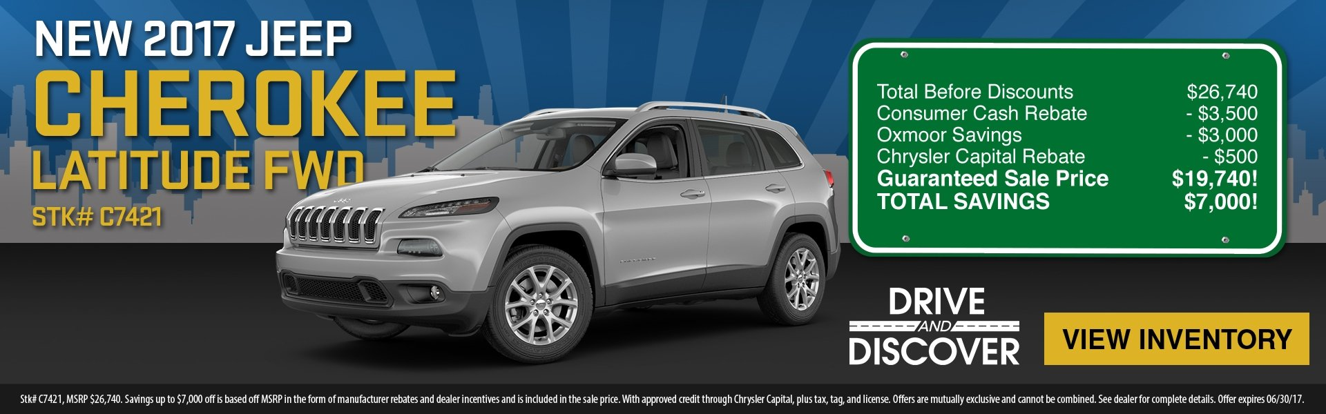 2017 Cherokee, up to $7,000 in savings! See dealer for details