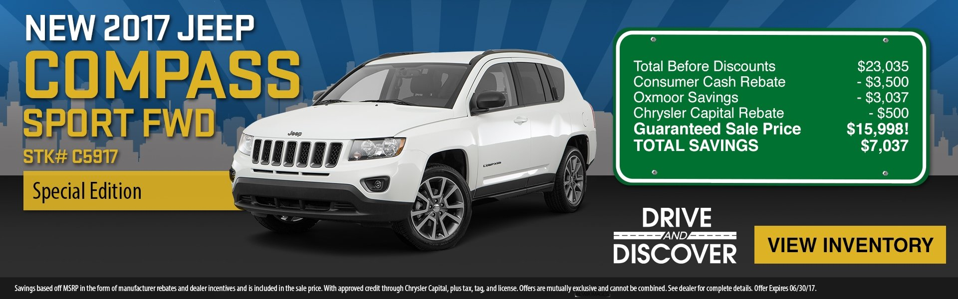 2017 Jeep Compass, save up to $7,037! See dealer for details.