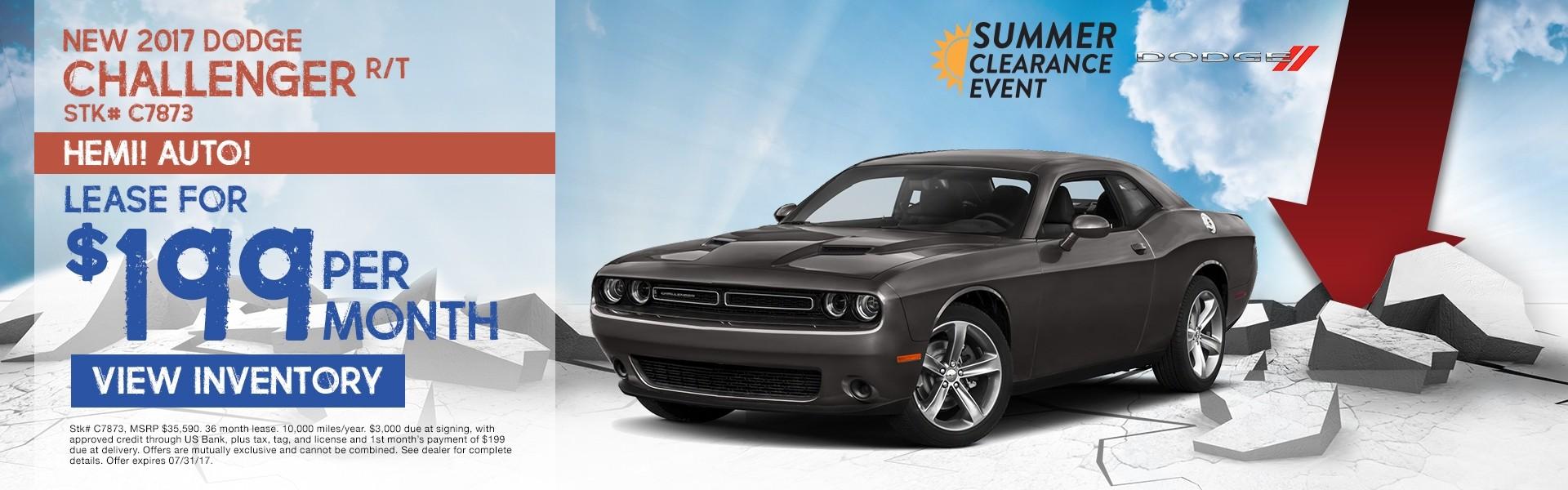 2017 Dodge Challenger. Lease for $199 per month. See dealer for details