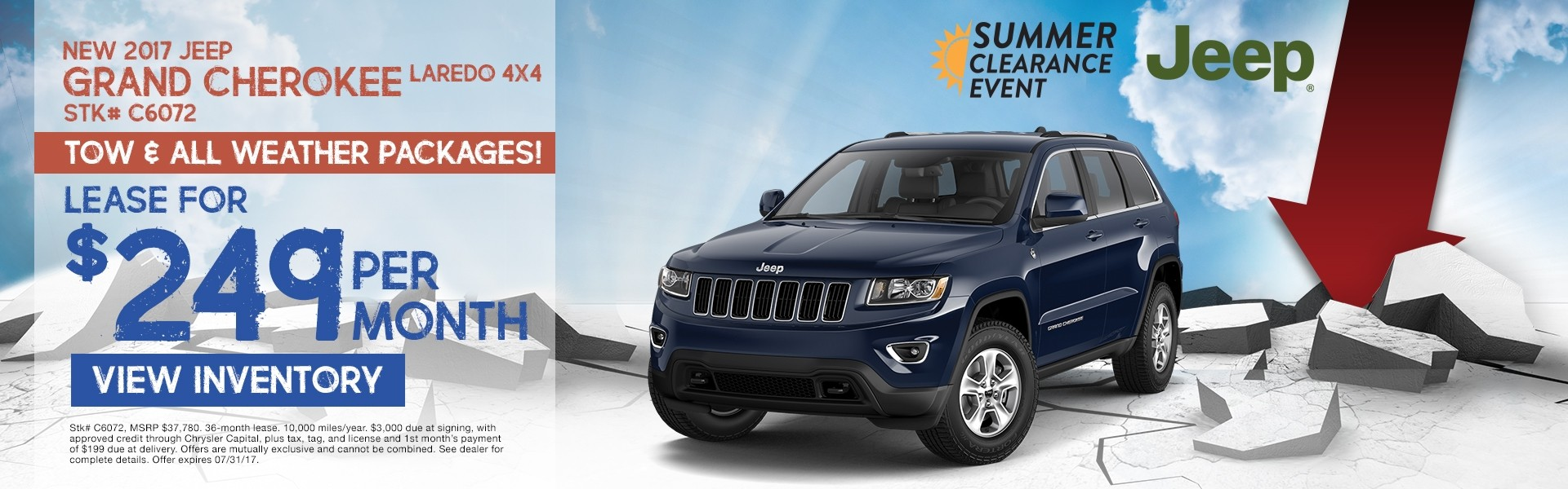 2017 Jeep Grand Cherokee. Lease for $249 per month. See dealer for details
