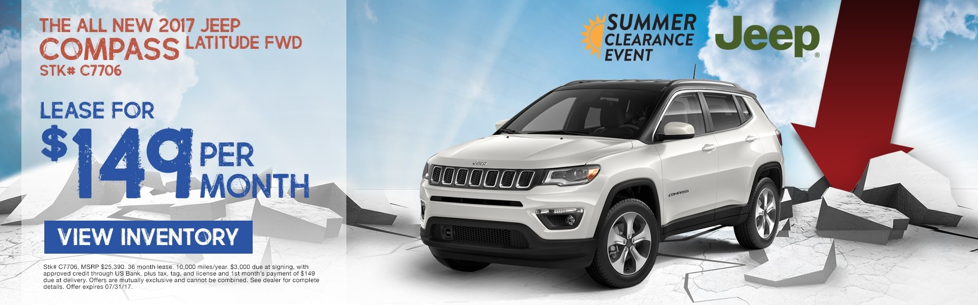 2017 Jeep Compass. Lease for $149 per month. See dealer for details