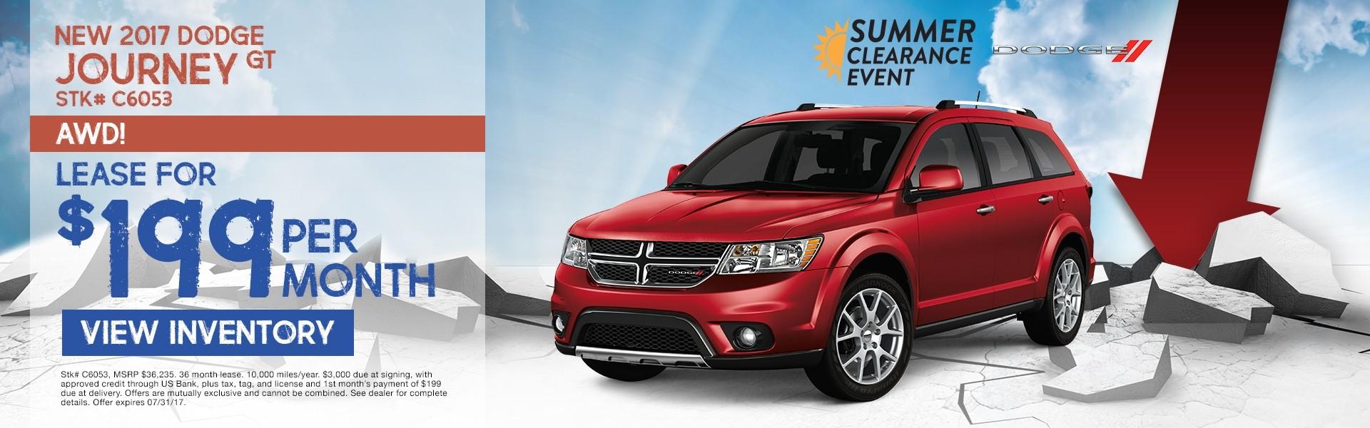 2017 Dodge Journey. Lease for $199 per month. See dealer for details.