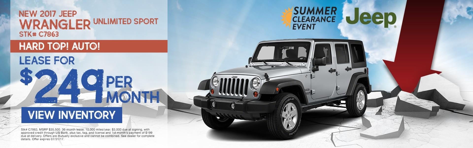 2017 Jeep Wrangler Unlimited Sport. Lease for $249 per month. See dealer for details.