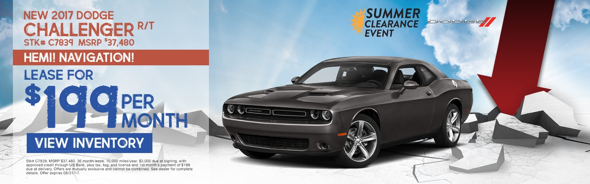 2017 Dodge Challenger. Lease for just $199/month.