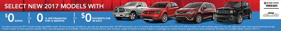 Select 2017 models, $0 down, 0% APR, $0 payments for 90 days. See dealer for details