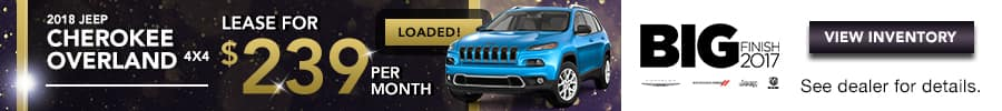 2018 Jeep Cherokee Overland, Lease for $239/month for 27 months.