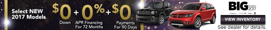 Select 2017 Models, $0 Down, 0% APR Financing, 0 Payments for 90 Days