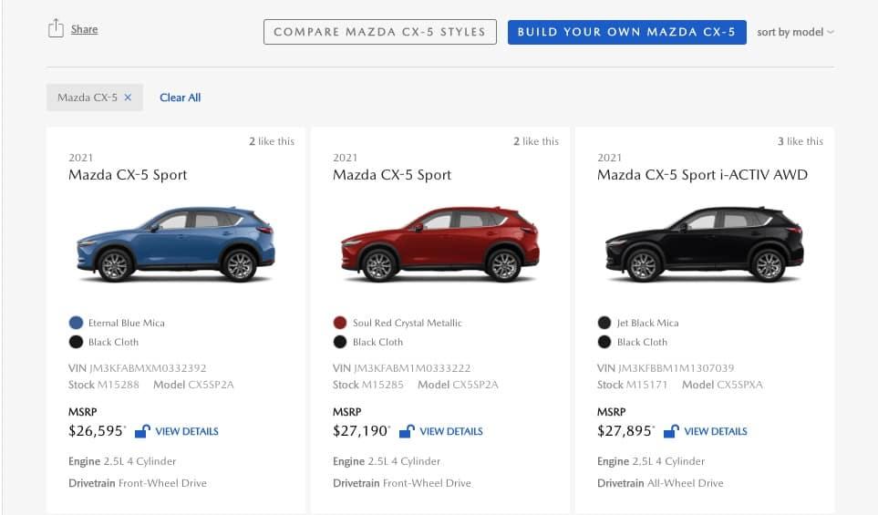 oxmoor mazda pick your vehicle